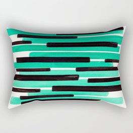 Pastel Teal Primitive Stripes Mid Century Modern Minimalist Watercolor Gouache Painting Colorful Str Rectangular Pillow