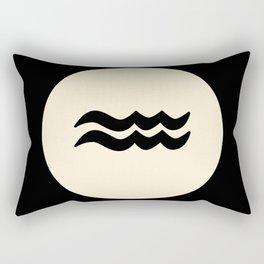 Aquarius Symbol Black Rectangular Pillow