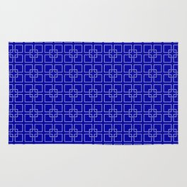 Dark Earth Blue and White Interlocking Square Pattern Rug