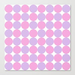 Pastel Pink and Lilac Dot Pattern Canvas Print