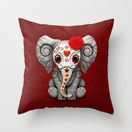 Deep Red Day of the Dead Sugar Skull Baby Elephant Throw Pillow