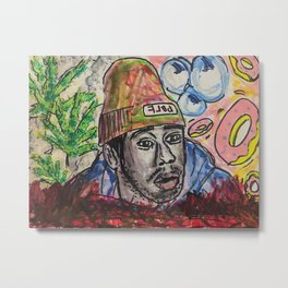 Tyler,The Creator,rapper,rap,music,fan art,wall art,artwork,colourful,weed,odd future,flower boy Metal Print