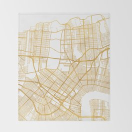 NEW ORLEANS LOUISIANA CITY STREET MAP ART Throw Blanket