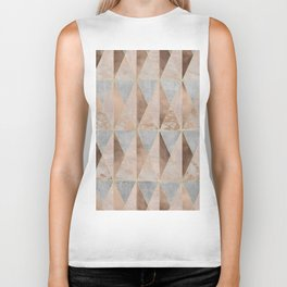 Copper Foil and Blush Rose Gold Marble Triangles Argyle Biker Tank