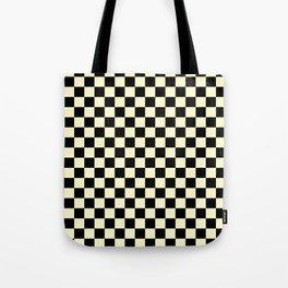 Black and Cream Yellow Checkerboard Tote Bag