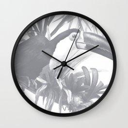Toucans and Bromeliads - Sharkskin Grey Wall Clock
