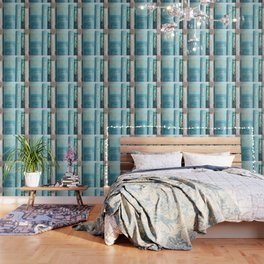 Shelfie in Aqua Wallpaper