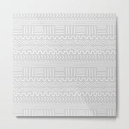 Mud Cloth on Light Gray Metal Print