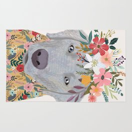 Silver Labrador with Flowers Rug