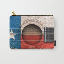 Old Vintage Acoustic Guitar with Texas Flag Carry-All Pouch