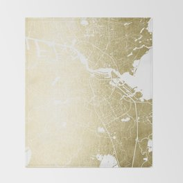 Amsterdam Gold on White Street Map Throw Blanket