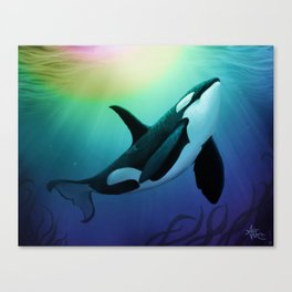 """""""The Dreamer Ascends"""" by artist Amber Marine ~ (Copyright 2015) ~ Orca / Killer Whale Art Canvas Print"""