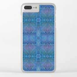 Blue Ice Weavery Temple Clear iPhone Case