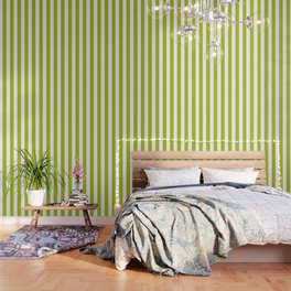 Acid Green - White vertical lines pattern Wallpaper