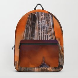 City in sunset Backpack