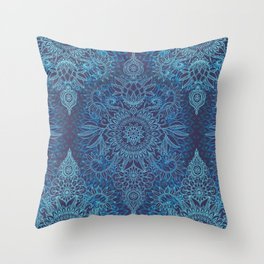 Aqua, Cobalt Blue & Purple Protea Doodle Pattern Throw Pillow