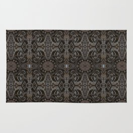 Curves & lotuses, abstract floral pattern, charcoal black, dark brown and taupe Rug