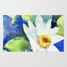 White Lily Pads, Lotus flowers, White Blue Rug