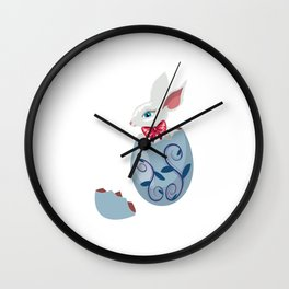 Cute Easter Bunny in cracked egg Wall Clock