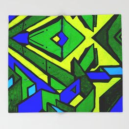 Green and blue graffiti - street art Throw Blanket