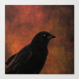 Crow Portrait In Black And Orange Canvas Print