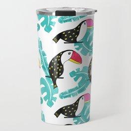Watercolor toucan and leaves Travel Mug
