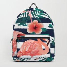 Flamingos, Stripes & Flowers Backpack
