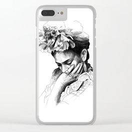 Frida Kahlo - pencil portrait Clear iPhone Case