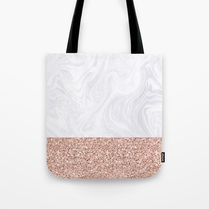 White Marble Dipped in Rose Gold Glitter Tote Bag