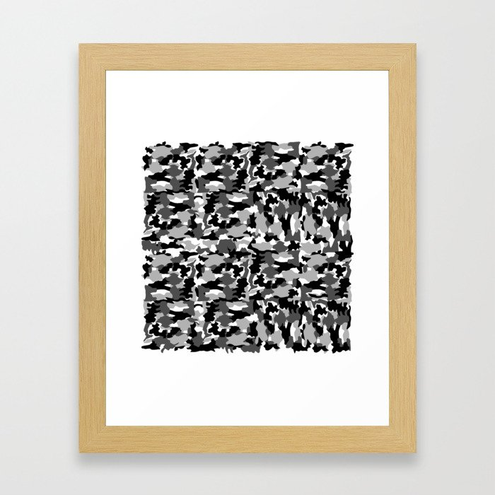 black and white Background Pattern Camo Framed Art Print