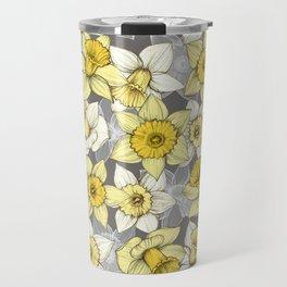 Daffodil Daze - yellow & grey daffodil illustration pattern Travel Mug