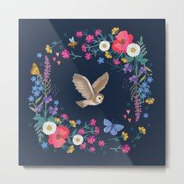 Owl and Wildflowers Metal Print