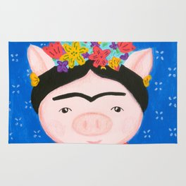 Frida pig with flowers and blue background Rug