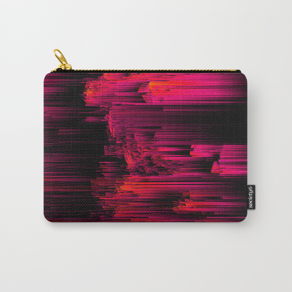 Burnout - Glitch Abstract Pixel Art Carry-all Pouch by Jenniferbradford CAP9016103