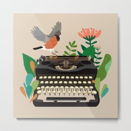 The bird and the typewriter Metal Print