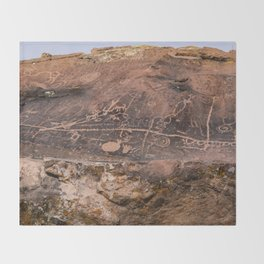 Desert Rock Art Petroglyphs Panoramic Throw Blanket