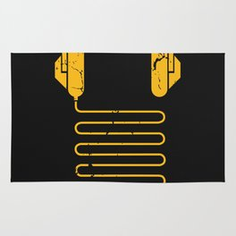 Gold Headphones Rug