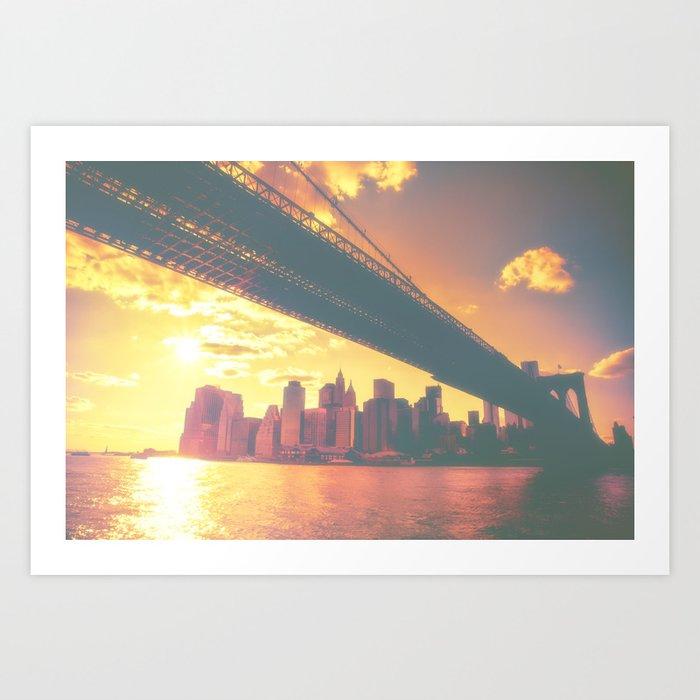 The New York City Skyline at Sunset Art Print