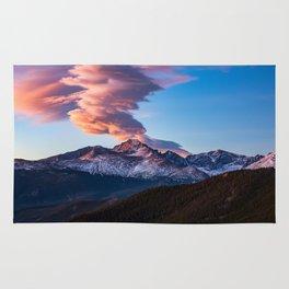 Fire on the Mountain - Sunrise Illuminates Cloud Over Longs Peak in Colorado Rug