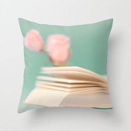 Book Pages on Blue background (Retro Still Life Photography)  Throw Pillow