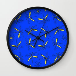 Yellow Dragonflys On Blue Back Wall Clock