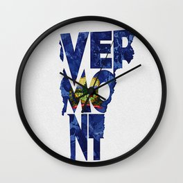 Vermont Typographic Flag Map Art Wall Clock