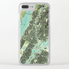 Vintage Central Park & Bronx NY Map (1947) Clear iPhone Case
