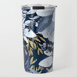 Navy Blue & Gold Watercolor Floral Travel Mug