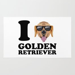 I Love Golden Retriever modern v1 Rug