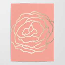 Flower in White Gold Sands on Salmon Pink Poster