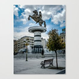 Statue of Alexander the Great at Macedonian Square - Skopje Canvas Print