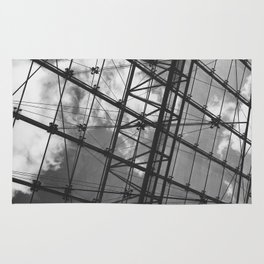 Glass Ceiling IV (Landscape) - Black and White Architectural Photography Rug