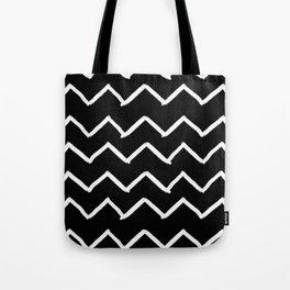 Black and White Zick Zack Brush Tote Bag