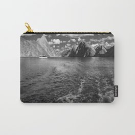 A boat ride in the morning at Milford Sound in black and white Carry-All Pouch